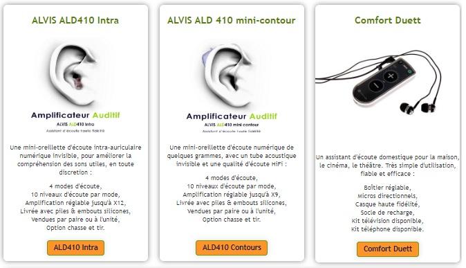 appareil auditif (pré-réglés)